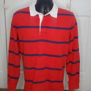 LANDS END Red & White Striped Rugby Shirt Sz M